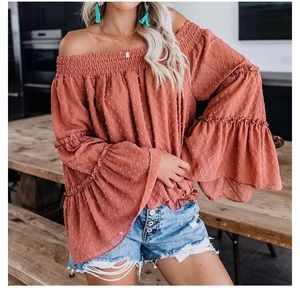 Brown Off The Shoulder Bell Sleeve Top